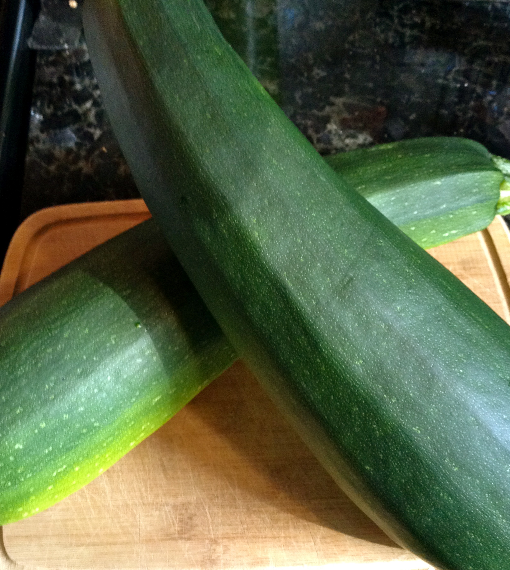 You first need one (or more) giant zucchini(s)...depending on how much you made...one big one made enough for four people...like heaping portions.