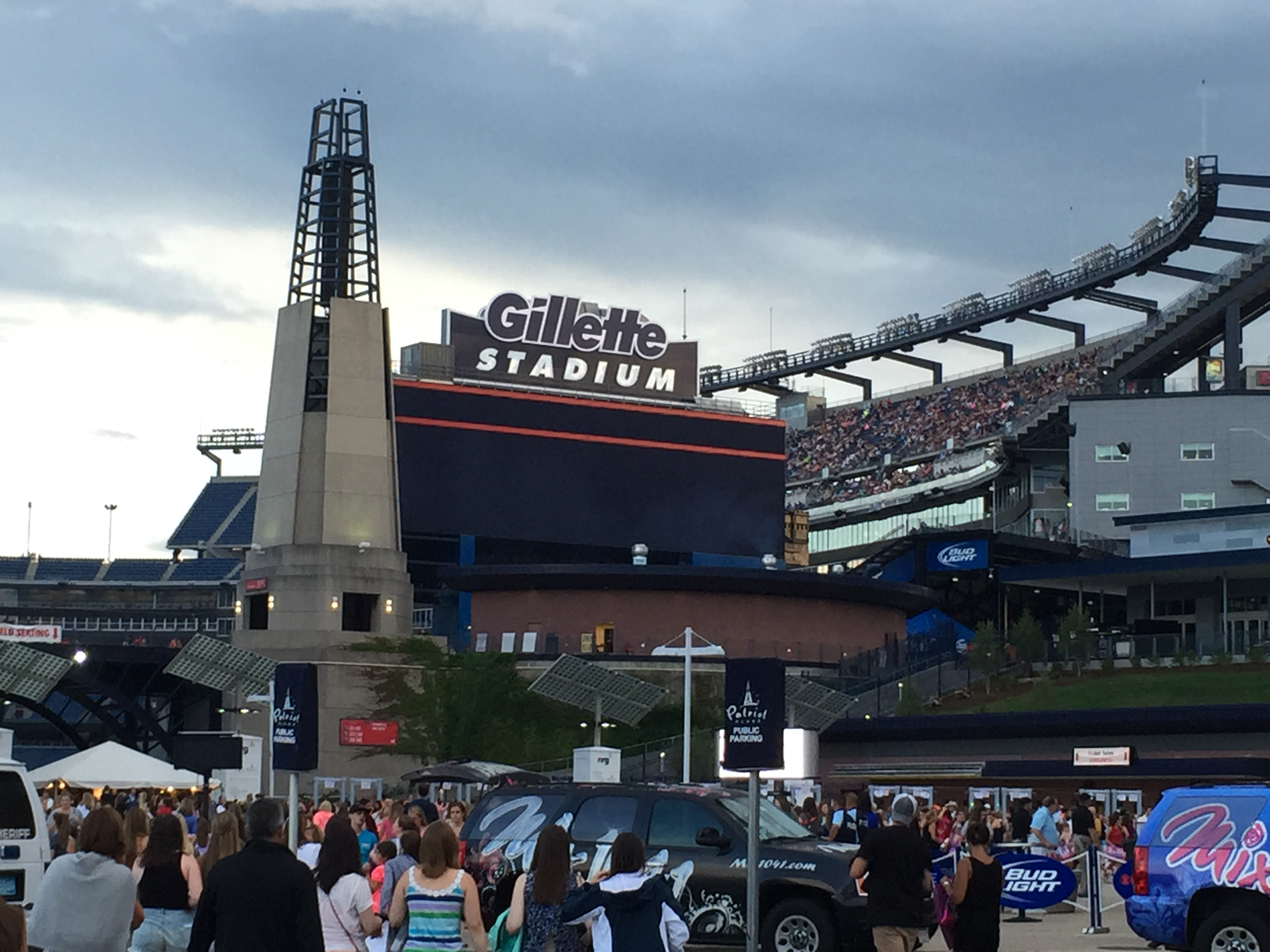 Arriving at Gillette Stadium.